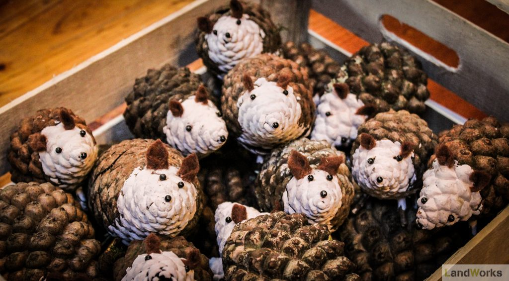 pine cone hedgehogs christmas gift ideas landworks charity christmas market garden shop dartington1 1024x565 - Prisoner Training & Placements