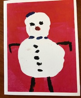 Snowman card on red - Prisoner Training & Placements